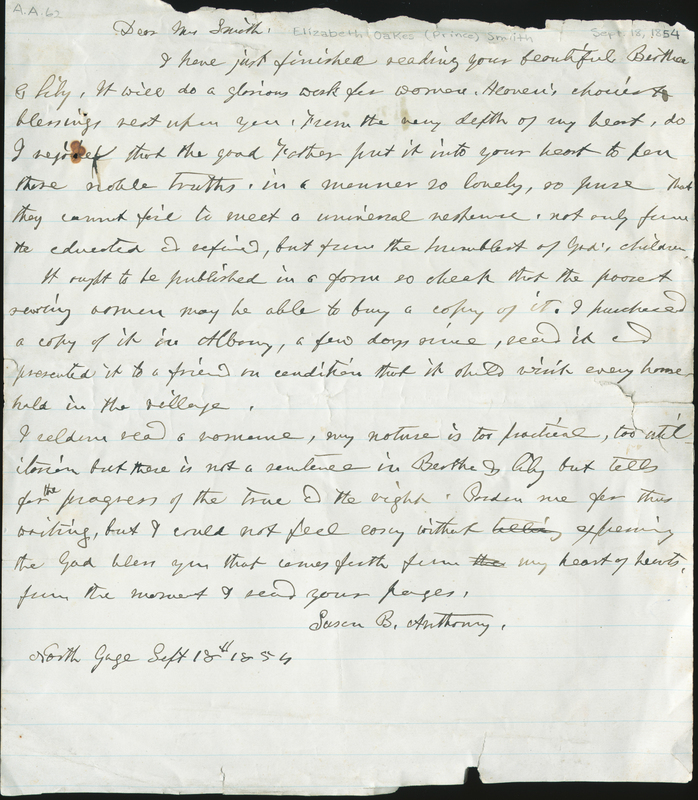 Letter from Susan B. Anthony to Elizabeth Oakes Smith, 1854