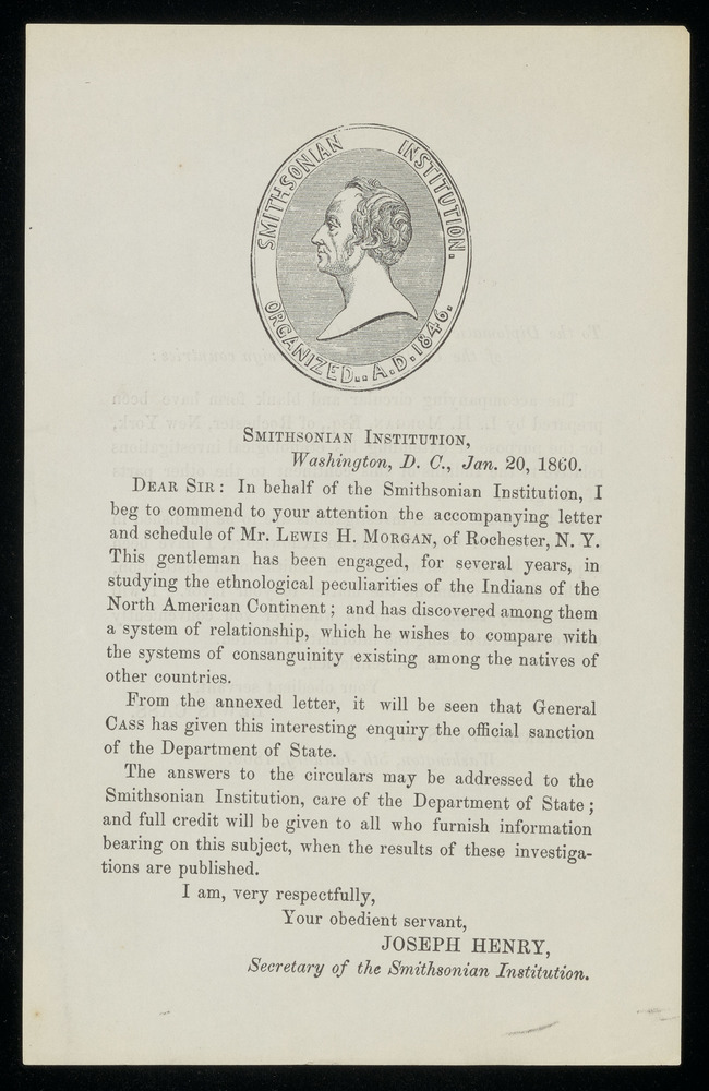 Printed circular. Covering Letters (on same leaf) January 20, 1860 by Joseph Henry and January 5, 1860 by Lewis Cass
