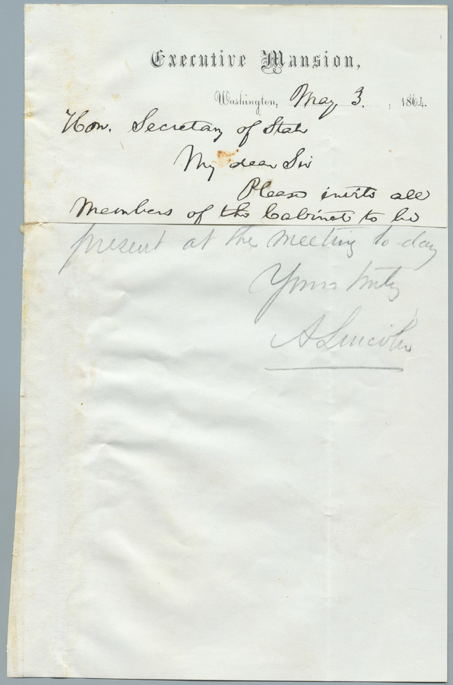 Note from Abraham Lincoln to William Henry Seward, May 3, 1864