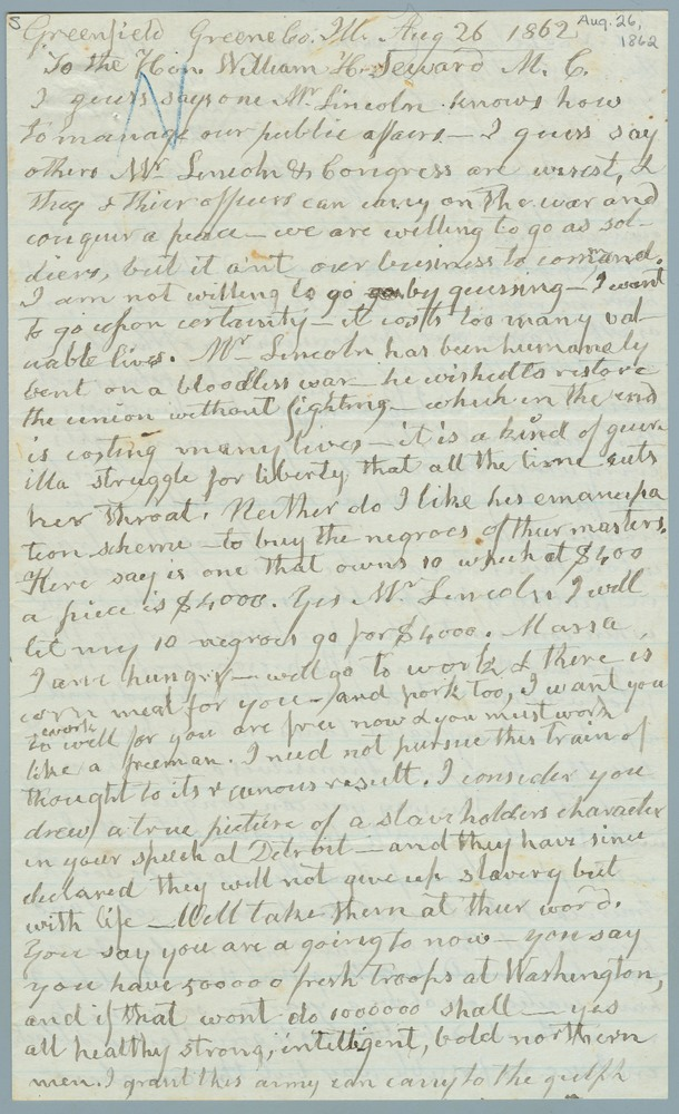 Letter from Richard Burroughs to William Henry Seward, August 26, 1862