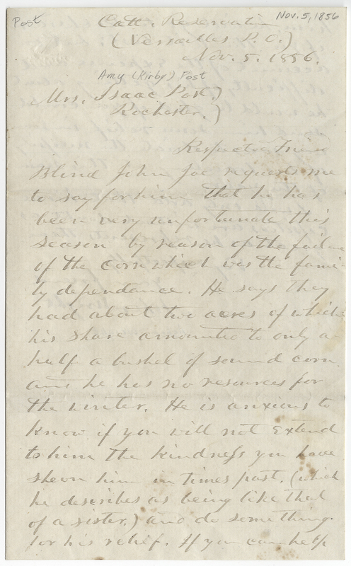 Wright, Asher. Letter to Amy Kirby Post.