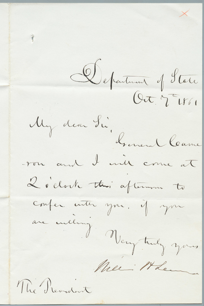 Note from William Henry Seward to Abraham Lincoln, October 7, 1861