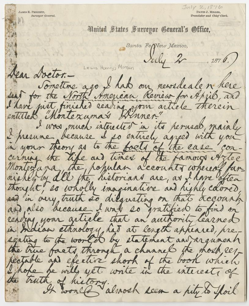 Miller, David J. Letter to Lewis Henry Morgan (1876-07-02)