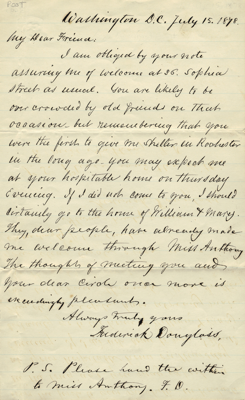 Douglass, Frederick. Letter to Amy Kirby Post.