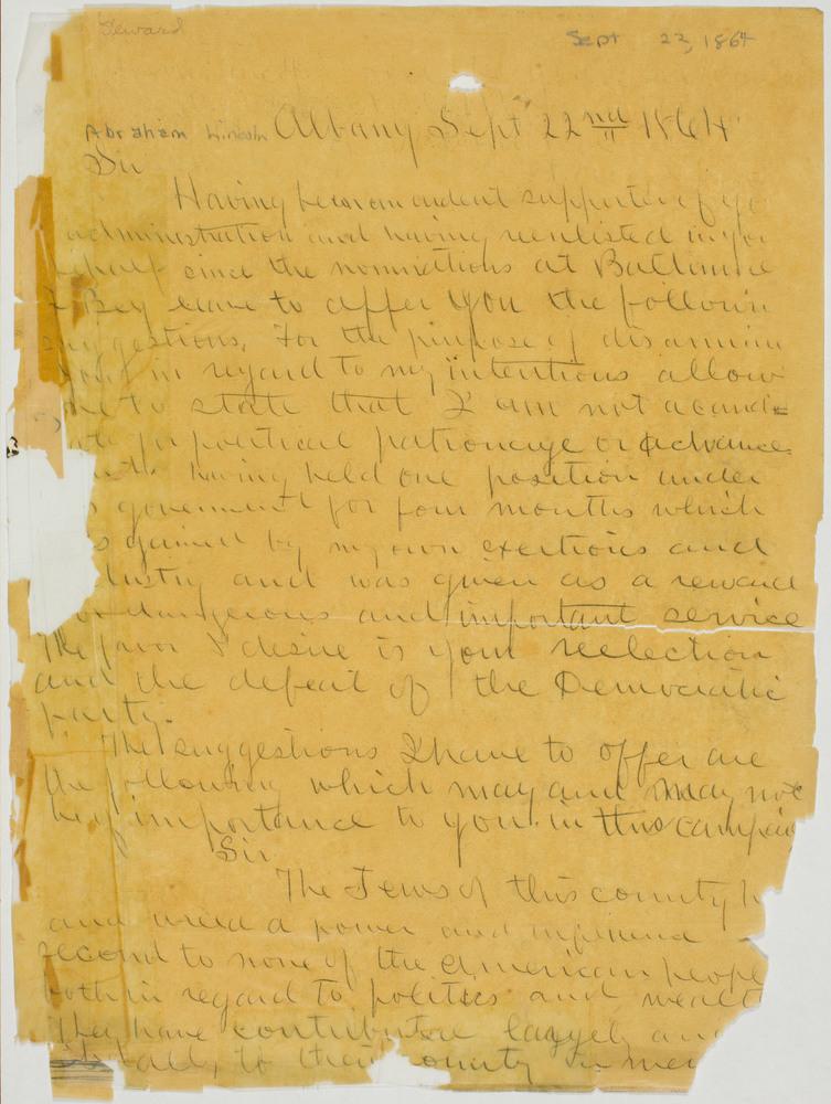 Letter from Henry Morrison Herman to Abraham Lincoln, September 22, 1864