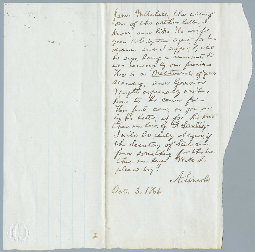 Note from Abraham Lincoln to William Henry Seward, October 3, 1861