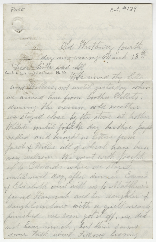 Post, Amy Kirby. Letter to Sarah L Kirby Hallowell Willis.