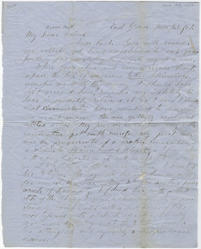 Bowen, Ansla F. Letter to Isaac Post.