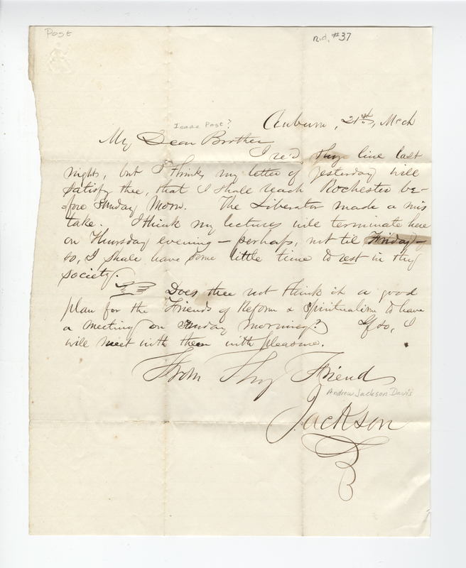 Davis, Andrew Jackson. Letter  to Isaac Post.