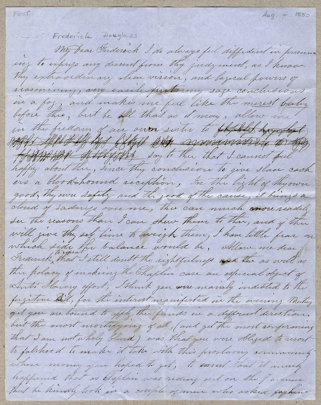 Post, Amy Kirby. Letter to Frederick Douglass.