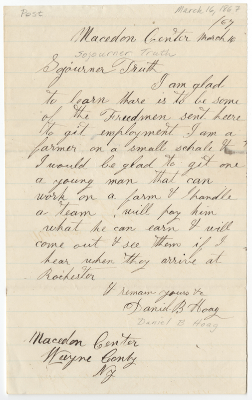 Hoag, Daniel B. Letter to Sojourner Truth.