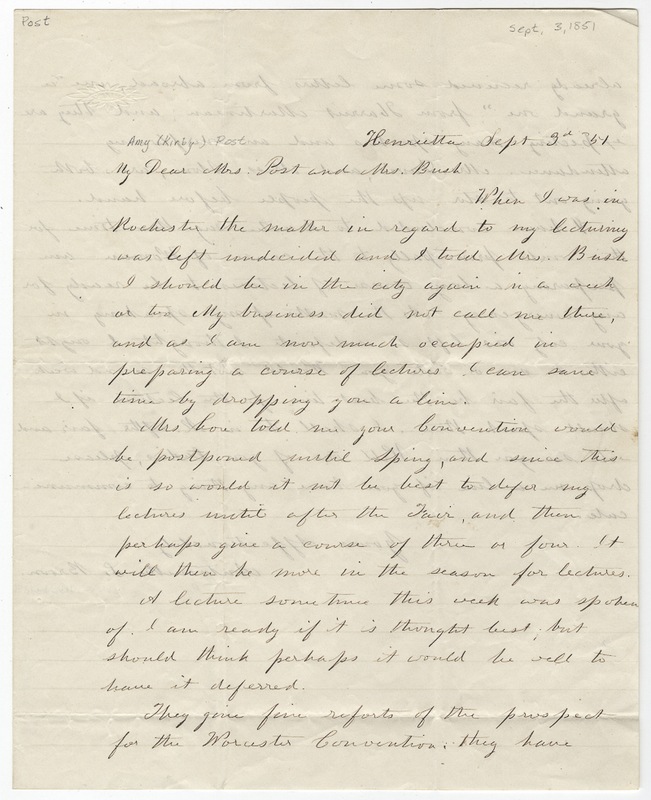 Blackwell, Antoinette Louisa Brown. Letter to Amy Kirby Post.