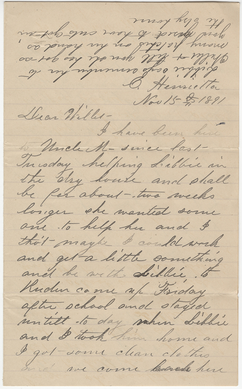 Wheeler, Josephine E. Letter to Willet E. Post.