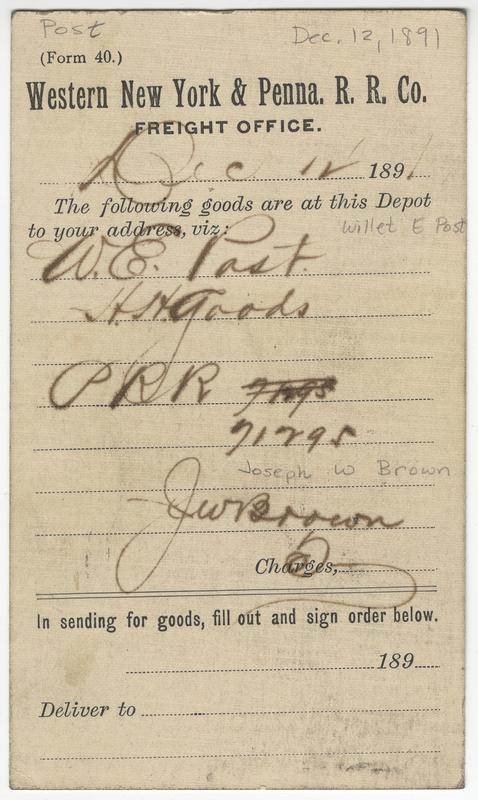Brown, Joseph W. Letter to Willet E Post.