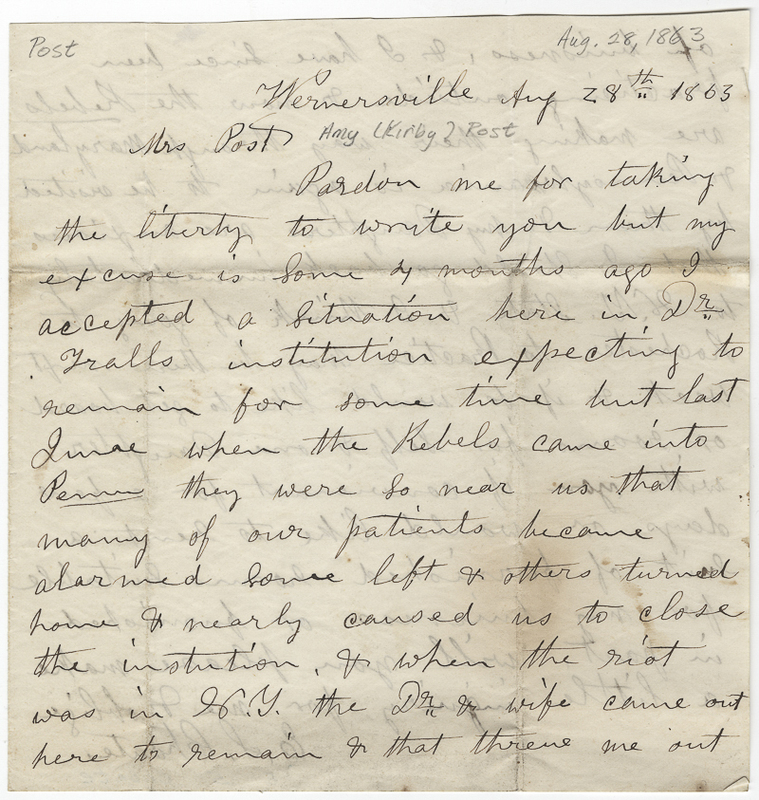 Choate, E S. Letter to Amy Kirby Post.