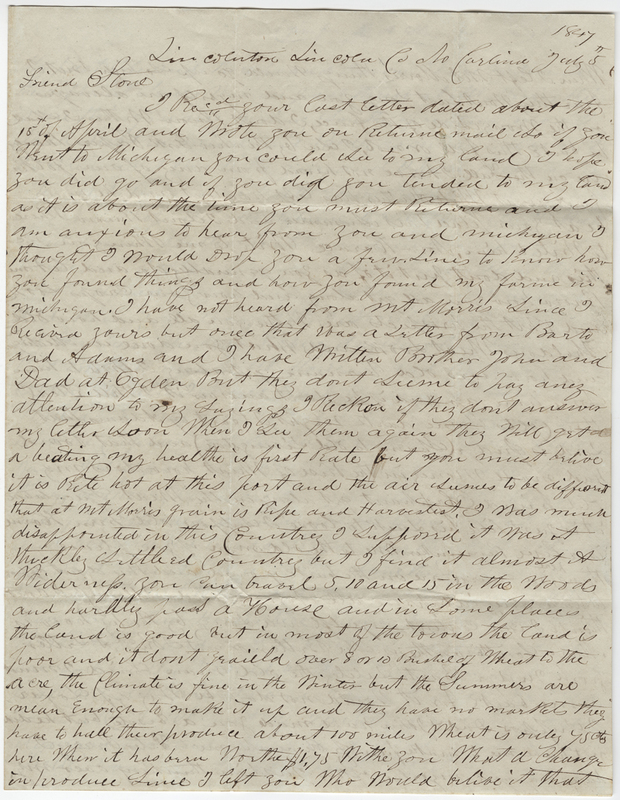 Unknown writer. Letter to Horace Stone.