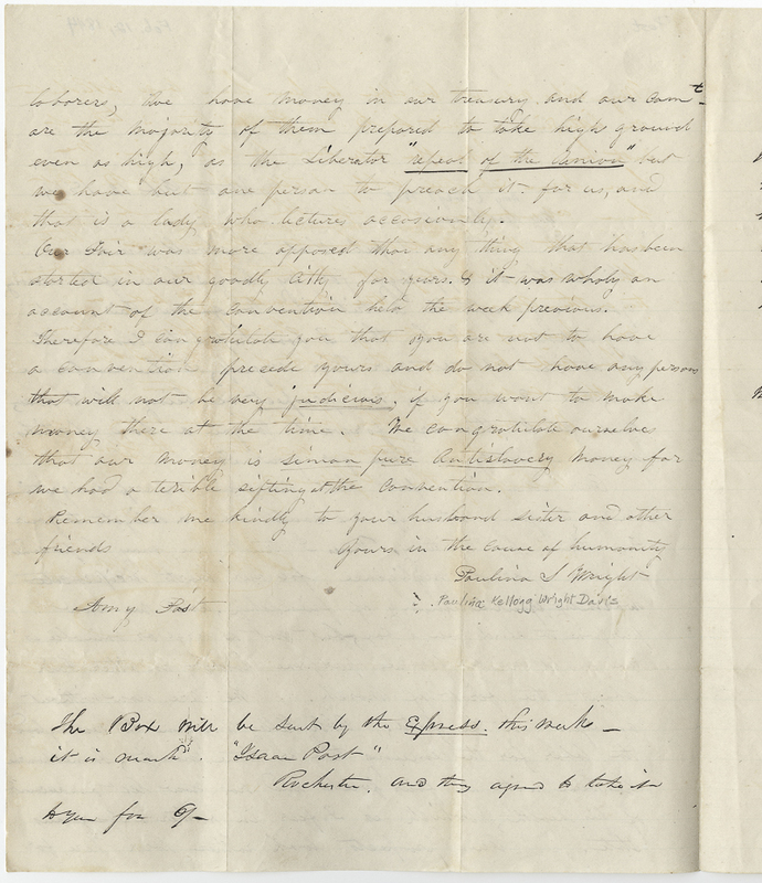 Wright, Francis. Letter to Amy Kirby Post.