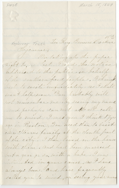 Annin, Mrs James. Letter to Sojourner Truth.