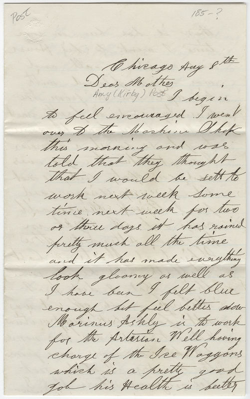 Post, Joseph W. Letter to Amy Kirby Post.