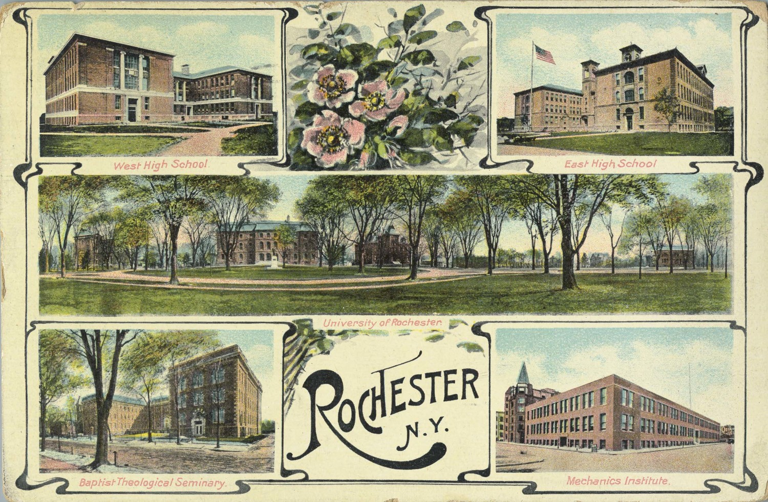 Multi-view postcard depicting educational institutions in Rochester.