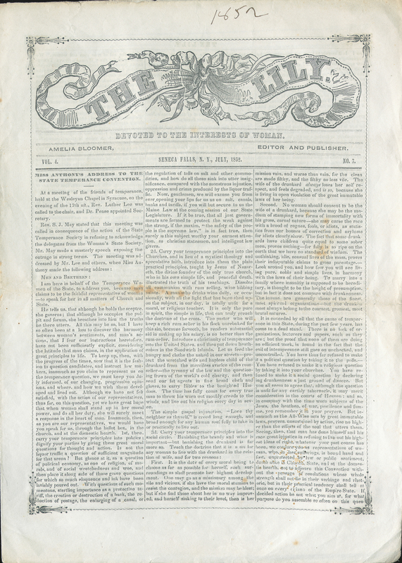 Susan B. Anthony speech published in The Lily, 1852