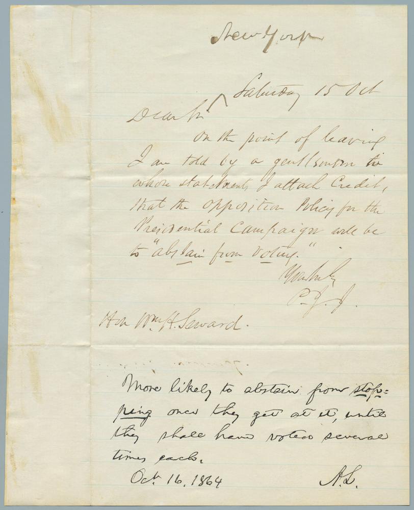Note from P.J.J. to William Henry Seward, November 15, 1864