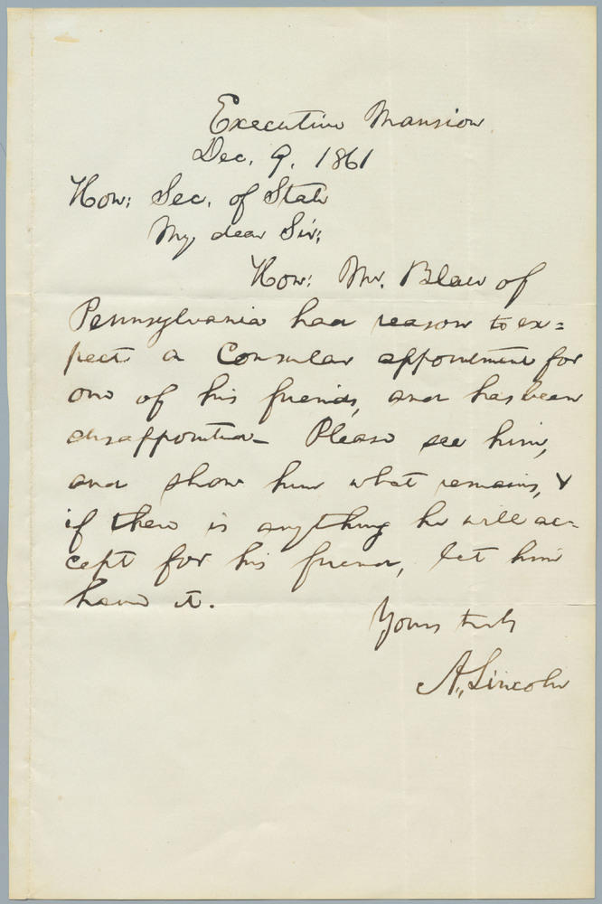 Note from Abraham Lincoln to William Henry Seward, December 9, 1861