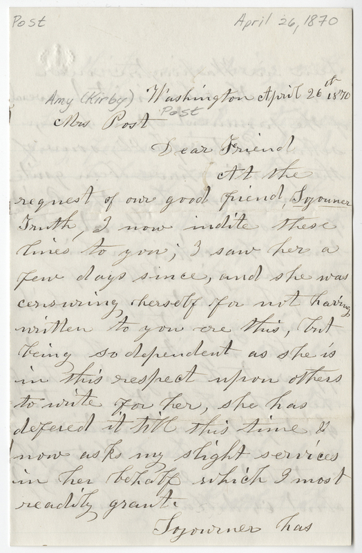 Wright, Hannah F. Letter to Amy Kirby Post.