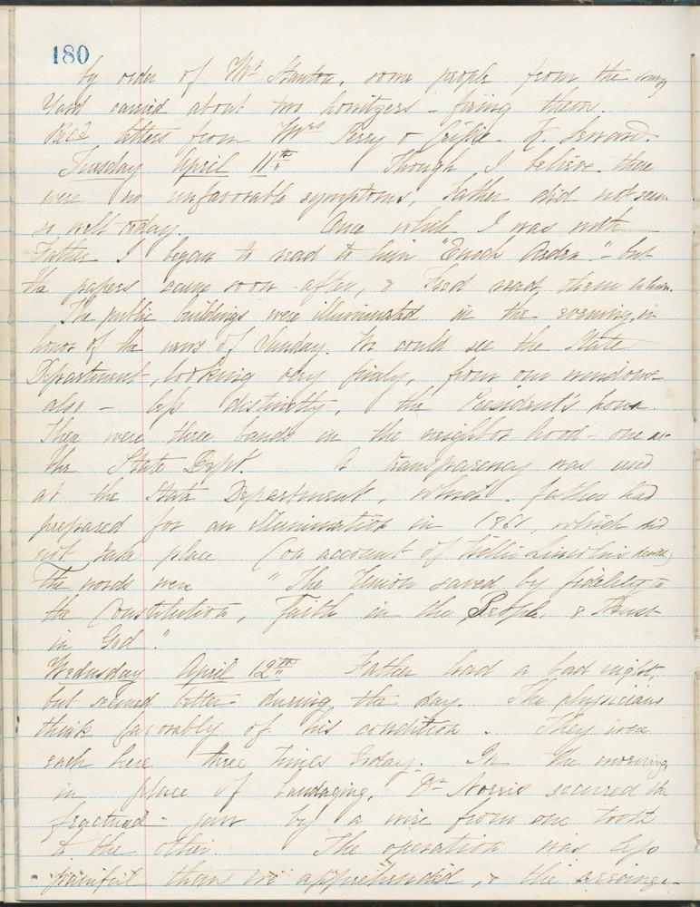 Diary entry from Fanny Seward, April 12, 1865