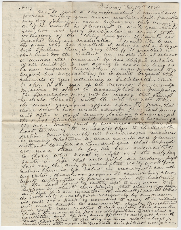 Wheeler, Edward. Letter to Amy Kirby Post.