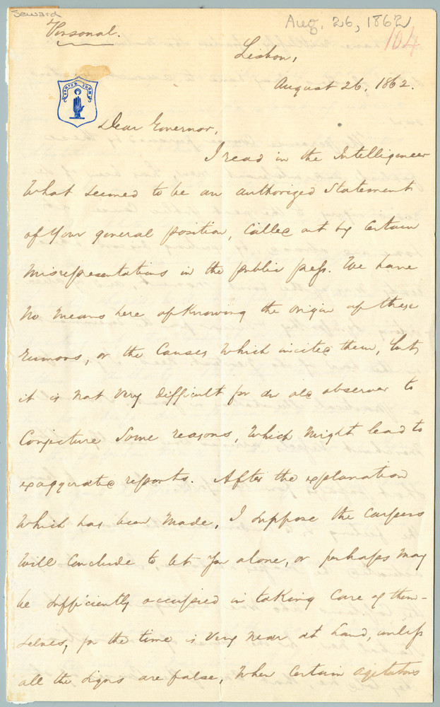 Letter from James E. Harvey to William Henry Seward, August 26, 1862
