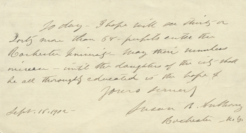 Note from Susan B. Anthony, September 1902