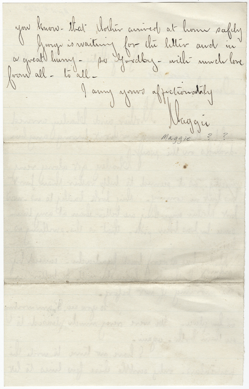 _____, Maggie ?. Letter to Isaac Post.