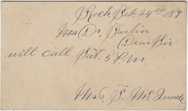 Duade, F.M.? Letter to C. Fred Farlin.