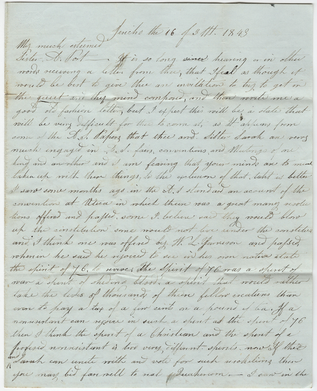 Willis, Mary W. Letter to Amy Kirby Post.