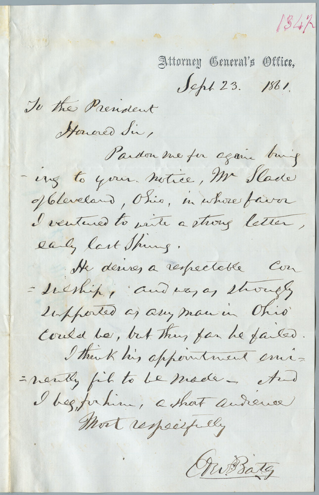 Note from Edward W. Bates to Abraham Lincoln, September 23, 1861