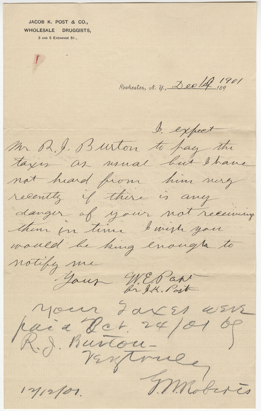 Post, Willet E. Letter to G. Roberts.