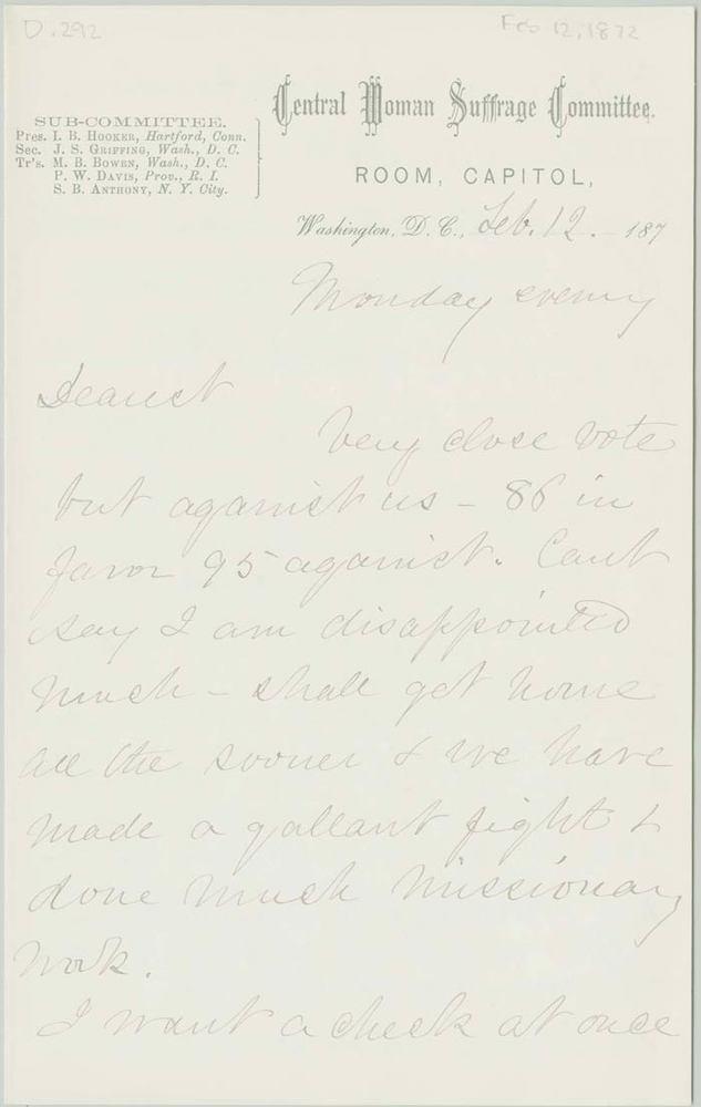 Letter from Isabella Beecher Hooker to her husband John Hooker, 1872-02-12<br />