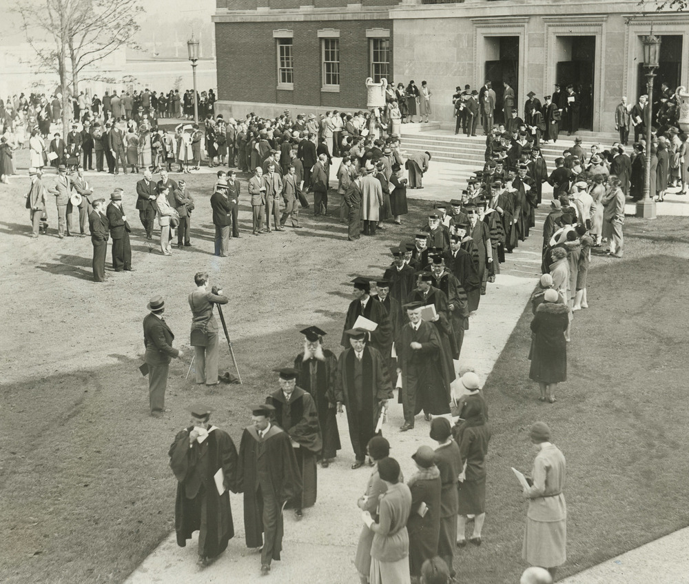 Procession on the Eastman Quadrangle at the dedication of the River Campus