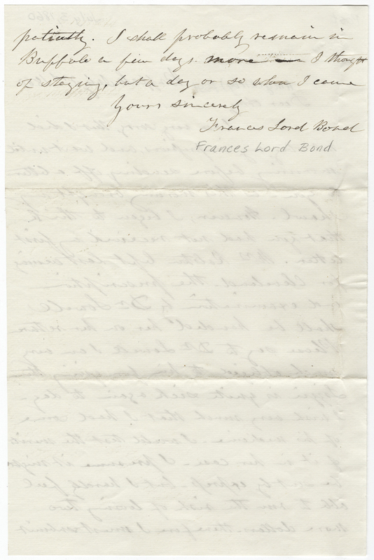 Bond, Frances Lord. Letter to Amy Kirby Post.