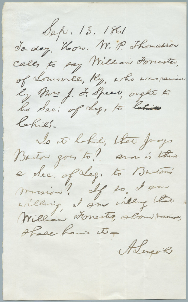 Note from Abraham Lincoln to William Henry Seward, September 13, 1861