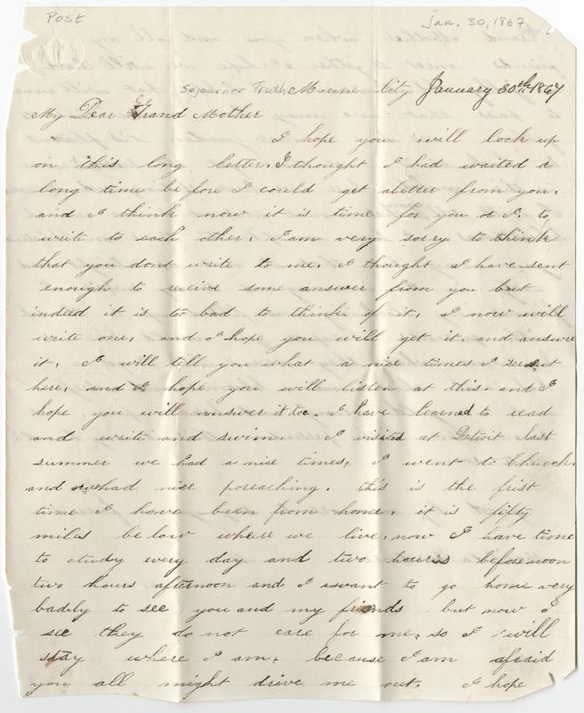 Gardner, Matilda. Letter to Sojourner Truth.
