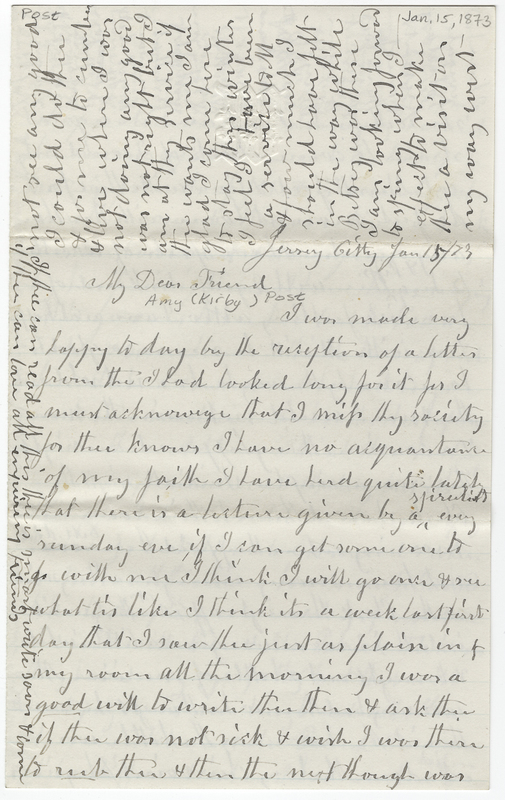 Wight, Mary C. Letter to Amy Kirby Post.