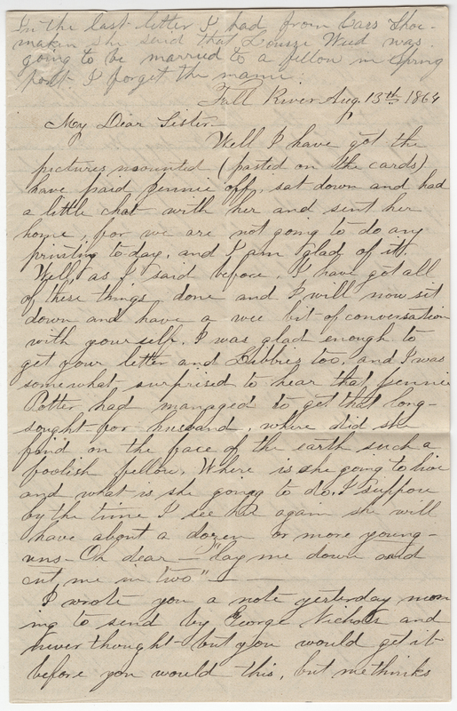 Unknown writer. Letter to Josephine E Wheeler.