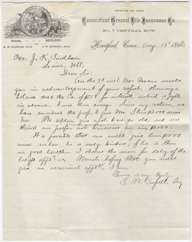 Russell, J.M. Letter to J.K. Tindam?