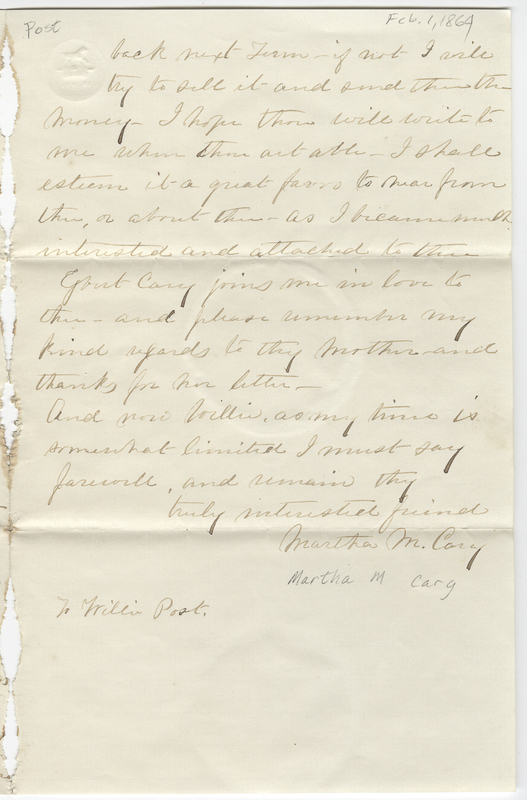 Cary, Martha M. Letter to Willet E Post.