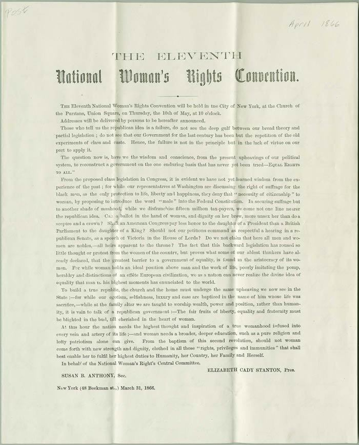 Eleventh National Woman's Rights Convention, 1866<br />