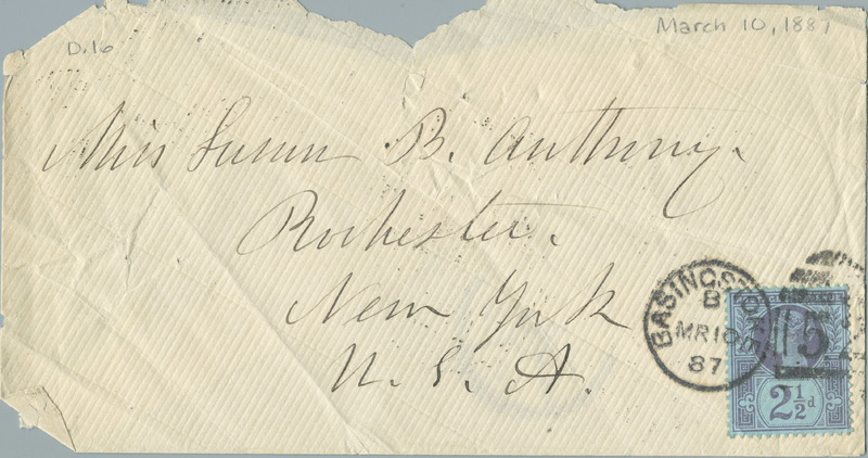 Letter from Elizabeth Cady Stanton to Susan B. Anthony (March 10, 1887)