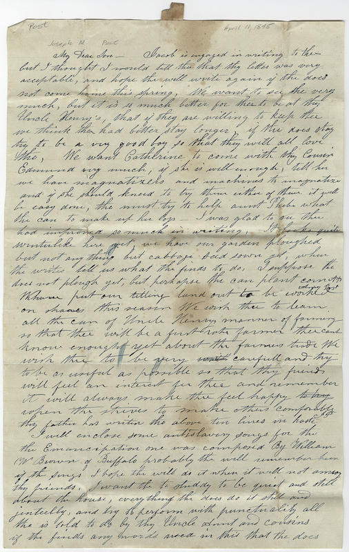 Post, Amy Kirby. Letter to Joseph W Post.