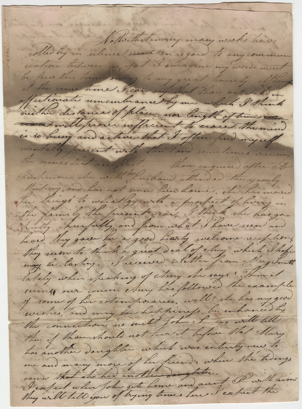 Willis, Mary W. Letter to Hannah Post.